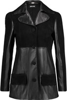 Just Cavalli Suede-Paneled Leather Coat