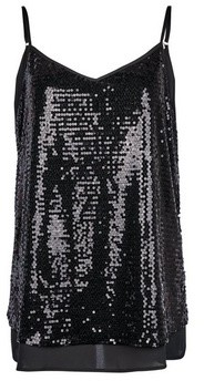 Dorothy Perkins Womens **Tall Black Sequin Camisole Top, Black