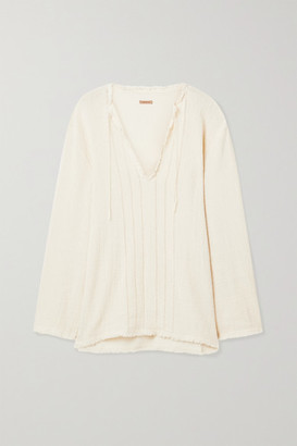 CARAVANA Hubiku Fringed Cotton-gauze Top - Off-white