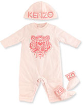Kenzo Cotton Logo Coverall, Hat & Booties, Size 3-18 Months