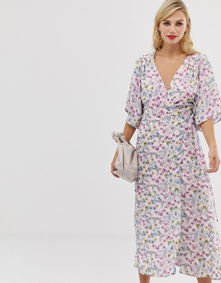 Liquorish floral maxi wrap dress with fluted sleeves-Multi