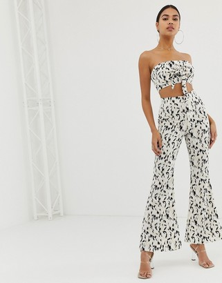 4th + Reckless printed wide leg pants in white