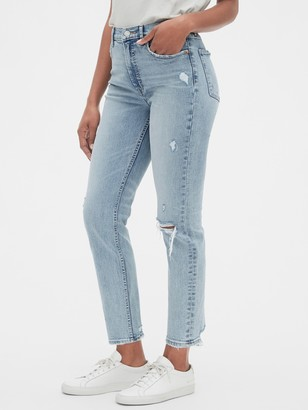 Gap High Rise Distressed Cigarette Jeans with Secret Smoothing Pockets