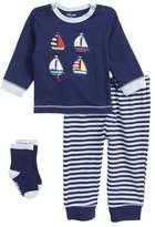 Little Me Sailboat T-Shirt, Jogger Pants & Socks Set