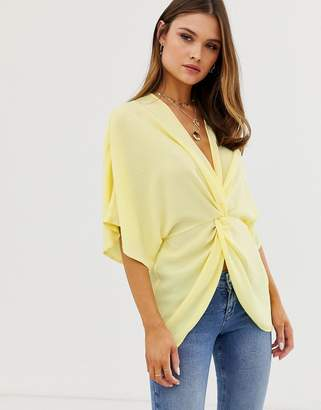 Asos DESIGN knot front top with kimono sleeve