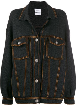 Barrie Contrast-Stitch Knitted Jacket