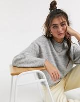 Monki Ida knitted jumper in grey melange