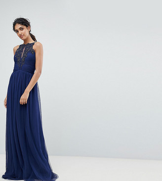 Little Mistress Tall Applique High Neck Maxi Dress-Navy