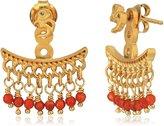Satya Jewelry Words of Wisdom Carnelian White-Topaz Gold Plate Om Earrings Jacket
