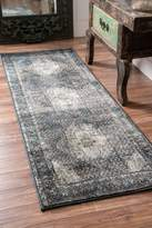nuLoom Traditional Vintage Inspired Overdyed Distressed Fancy Runner Area Rug