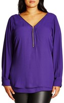 City Chic 'Sexy Fling' Zip V-Neck Top (Plus Size)