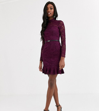 Paper Dolls Tall flippy hem lace belted mini dress in plum