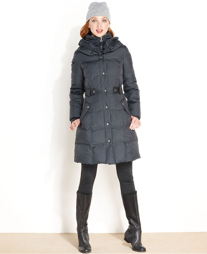 DKNY Coat, Hooded Belted Down Puffer