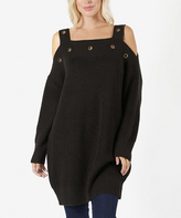 Jane Ash Gray Eyelet-Accent Cold-Shoulder Sweater