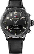 Tommy Hilfiger Men's Analog-Digital Black Leather Strap Smart Watch 46mm 1791301
