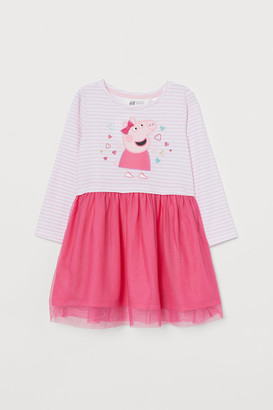 H&M Jersey Dress with Tulle - Pink