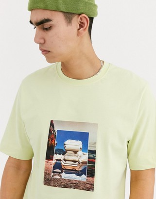 Asos loose fit t-shirt with transfer print-Yellow