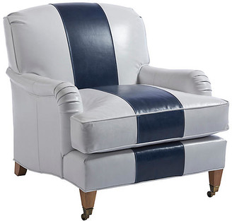 Barclay Butera Sydney Club Chair - Navy/White Leather