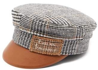 Ruslan Baginskiy Houndstooth Wool And Leather Baker Boy Cap - Womens - Brown Multi