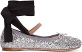 Miu Miu Silver Glitter Ballerina Flats