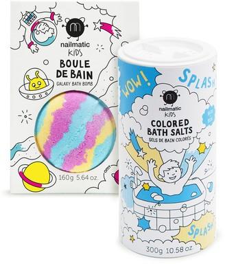 nailmatic Kids Galaxy Bath Bomb & Colored Bath Salts Set