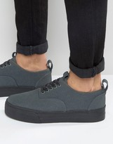 Asos Sneakers In Gray Faux Suede With Chunky Sole