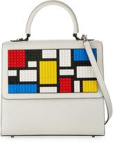 Les Petits Joueurs Alex Mondrian Large Satchel Bag, White
