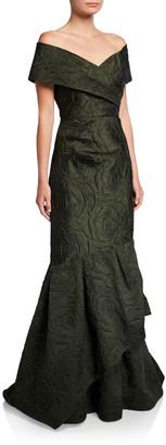 Rickie Freeman For Teri Jon Premier Jacquard Off-the-Shoulder Tiered Mermaid Gown