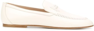 Tod's Whipstitch Logo Leather Loafers