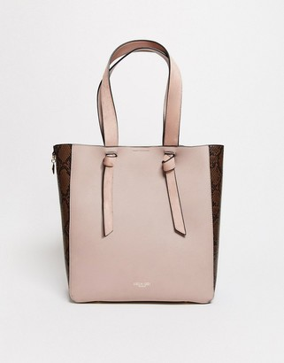 Luella Grey tote bag with knot straps in mink