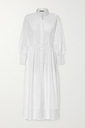 Three Graces London Peppa Cotton-poplin Midi Shirt Dress
