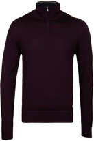 Cp Company Bordeaux Light Wool Quarter Zip Sweater