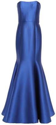 Marchesa Strapless Bow-embellished Satin-pique Gown