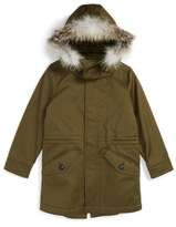 Burberry Rupert Hooded Sateen Parka with Genuine Fox Fur Trim (Little Boys & Big Boys)
