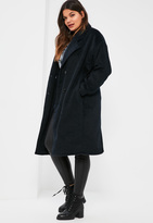 Missguided Plus Size Navy Cocoon Double Breasted Faux Wool Coat