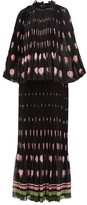 Valentino Rose-print Plisse Silk-chiffon Dress - Womens - Black Multi