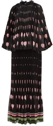 Valentino Rose-print Plisse Silk-chiffon Dress - Womens - Black Multi