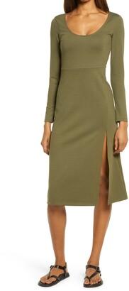 Leith Long Sleeve Side Slit Midi Dress