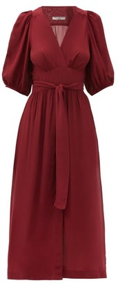 Three Graces London Fiona Puff-sleeve Midi Wrap Dress - Dark Red