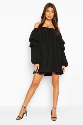 boohoo Plisse Off The Shoulder Puff Sleeve Swing Dress