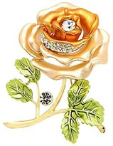 Epinki Women Brooch, Stainless Steel Pearl Rose Flower Brooches and Pins Wedding Brooch