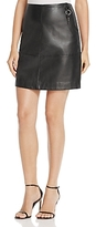 Kenneth Cole Key Fob Seamed Leather Mini Skirt