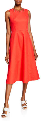 Kate Spade Scallop Cutout Sleeveless A-Line Midi Dress