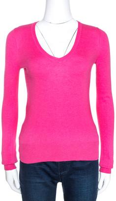 Emporio Armani Raspberry Pink Silk Wool V Neck Jumper S
