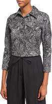 Marc Jacobs Crystal-Embroidered Paisley Denim Jacket, Black