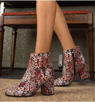 Qupid Flower Patterned Bootie