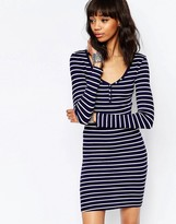 Brave Soul Long Sleeve Jersey Striped Dress With Button Front
