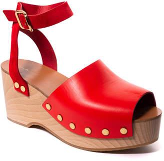 Celine Leather Platform Ankle-Strap Sandal