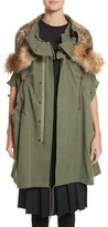 Junya Watanabe Women's Army Coat With Cheetah Faux Fur Hood