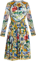 Dolce & Gabbana Majolica-print long-sleeved silk-chiffon dress